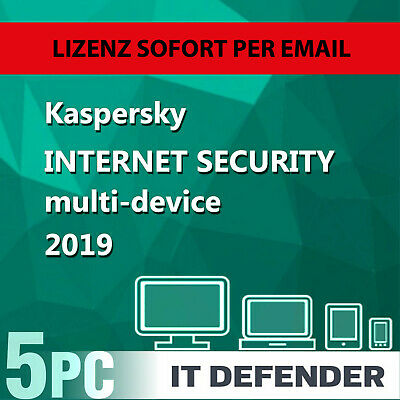Kaspersky Internet Security 2019 / 2020 5 PC / Geräte 1 Jahr Vollversion Key