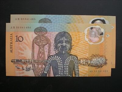 1988 AB $10 Aust-bi-centenary 2nd issue,   2 x consec  UNC