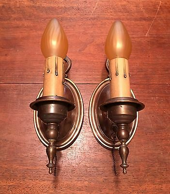 Antique Vintage Brass Wall Sconce Wired Pair Lights Lighting Antiques 9C
