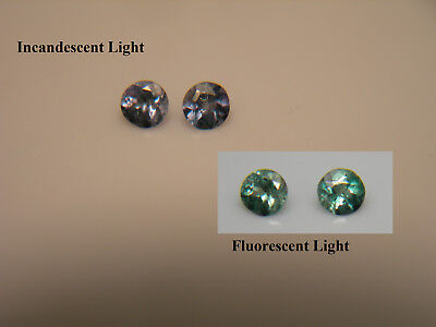 2 RARE Alexandrite gems COLOR CHANGE Green Blue Purple Orissa FLUORESCENT pair z