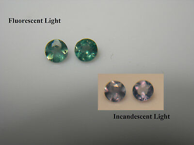 2 RARE Alexandrite gems COLOR CHANGE Green Blue Purple Orissa FLUORESCENT pair x