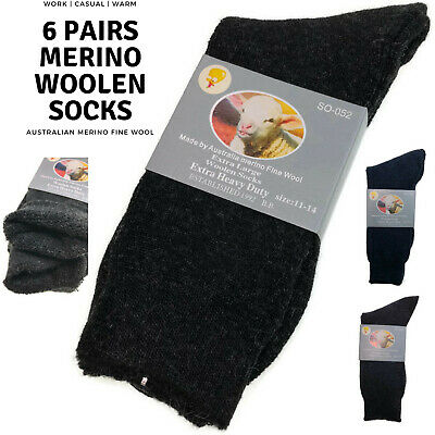 6 Pairs Merino Wool Blend Woolen Work Socks Hiking Heavy Duty Warm Thermal Bulk