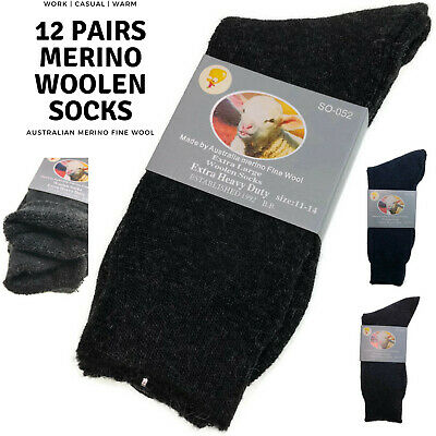 12 Pairs Merino Wool Blend Woolen Work Socks Hiking Heavy Duty Warm Thermal BULK