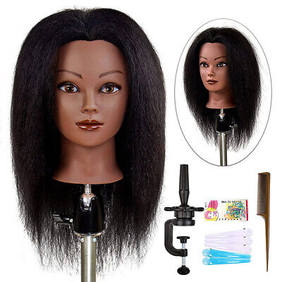 Afro American Cosmetology Mannequin Head 100% Human Hair Hairdresser Training