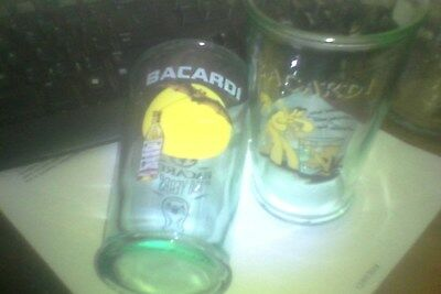 bacardi rum embossed tall sloping sided green glass 150 years 3/4