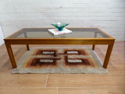 Retro Mid-Century Modern Noblett Large Long Solid Teak Coffee Table Perfect Cond