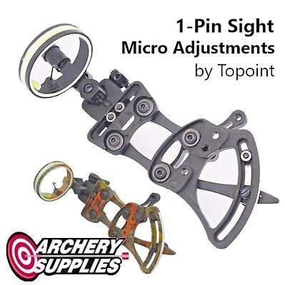 Topoint 1-Pin Sight w/ Micro Adjustments for Compound Bow Archery - BLACK