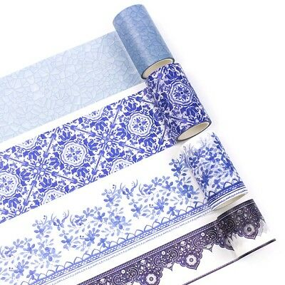 Blue White Porcelain Tape Texture Self Adhesive Washi Tape DIY Label Stickers