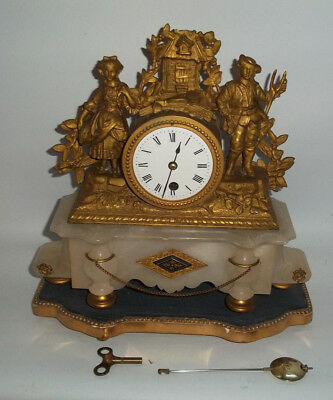 Antique French 19Th Century Figural Gilt & Onyx Mantle Clock