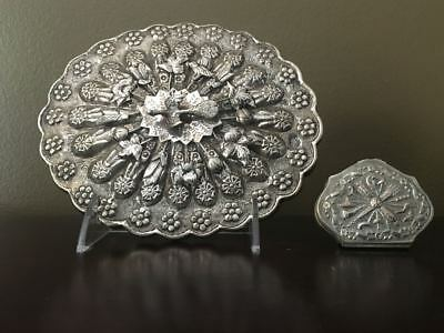 French Silver Box for Turkish Ottoman Market and Turkish Silver Mirror