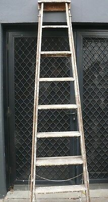 Old Vintage Wooden Timber Mote Kennet Light House Step Ladder  - 8 Foot / 2.4 M