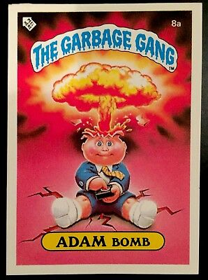 1986 The Garbage Gang #8a Adam Bomb Checklist Series 1 New Zealand Pail Kids Set