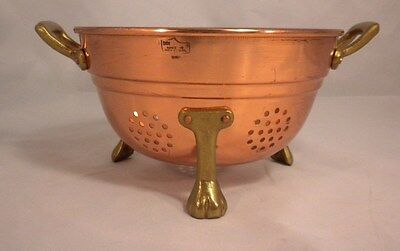 Vintage Footed Copper Strainer Double Brass Handle Berry Colander