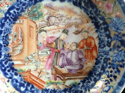 Chinese 18thC Qianlong Famille Rose Gilt Mandarin Figural & Two Dogs Saucer Dish