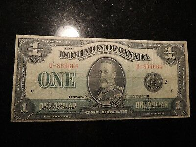 1923 DOMINION OF CANADA $ 1 ONE DOLLAR DC-25f  MCCAVOUR SAUNDERS U-869664 BLACK