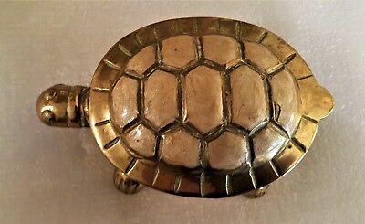 ANTIQUE BRASS TORTOISE  ASH TRAY Very Nice condition - 5 x 3 inches