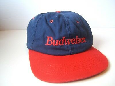 Vintage Budweiser Spell Out Bud Beer Hat Red Blue Snapback Baseball Cap Made USA