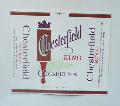 Old Vintage German Cigarette - Tobacco Packet Label. Chesterfield King