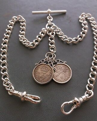 George V Threepence Coin Fob Silver Plate Double Albert Pocket Watch Chain