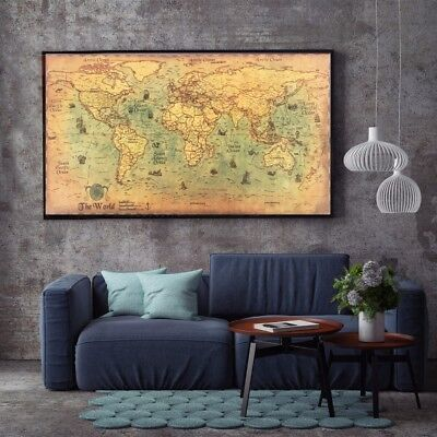Large Vintage World Map Old Navy Nautical Maps Poster Huge Retro Home