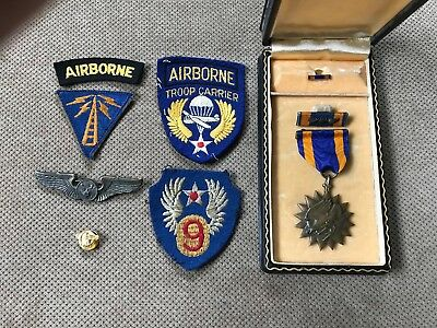 Original WW2 Airborne Troop Carrier/9th AAF Insignia Patches + Air Medal
