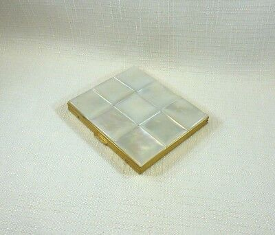 Vintage Mother Of Pearl Gold Tone Metal Retro Mirror Powder Compact