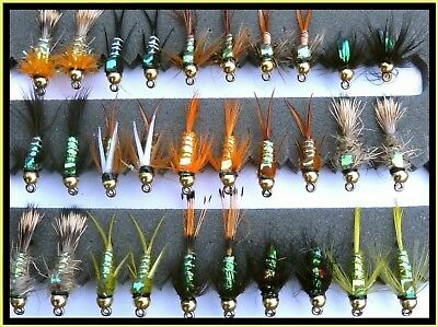 Epoxy Buzzer Trout fishing flies lures Set 90 x 15 flies Hook sizes 6 to 18 Random selection of colours For Trout Fly Fishing