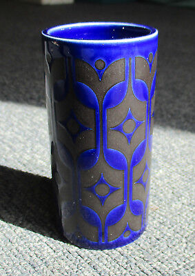Vintage Hornsea pottery small dark blue vase 3.3/4 inches tall