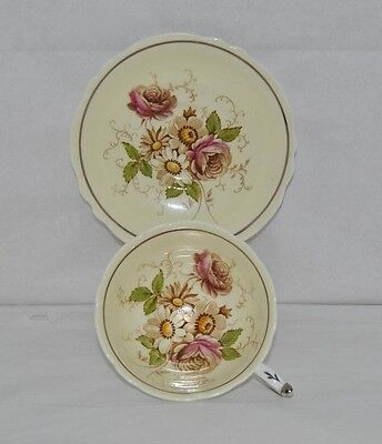 Very Rare Circa 1939-49 Paragon, Tea Cup & Saucer, With Multi Colored Flowers