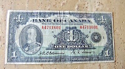 1935 Bank of Canada One Dollar Note VG10/ F