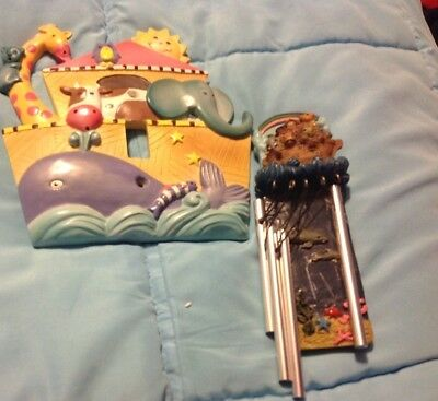 Noah's Ark light switch frame and wind chimes