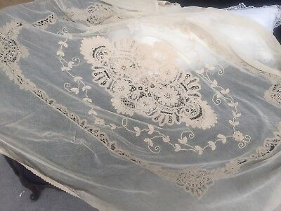 Antique Ecru TAMBOUR Lace Twin Bedspread Coverlet Stunning Detail