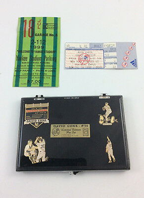 David Cone perfect game ticket stub parking pass limited edition pin set Berra