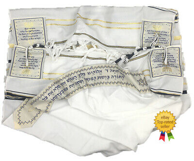 "Messianic prayer shawl ""Tallit"" 72x22IN Dark Blue w/free white kippah"