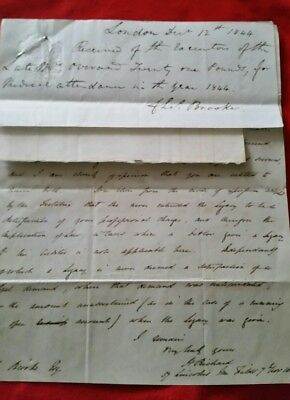Antique Victorian letter Charles Brooke 1804 - 1879. English Surgeon & Inventor