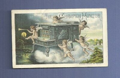 1890 Trade Card THE CHAMPION MONITOR STOVES RANGES With Cherubs