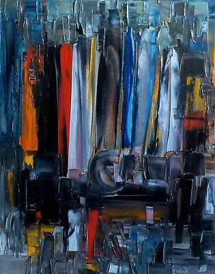 Bruno Cantais - Face To The Buildings - Tableau Huile 50X40 Cm - 1 Euro