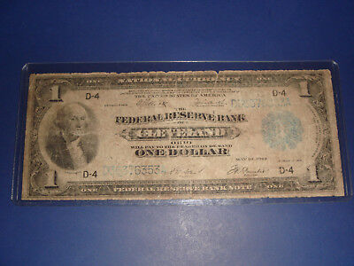 Large Note 1918 United States Federal Reserve Bank of Cleveland Ohio Dollar Bill