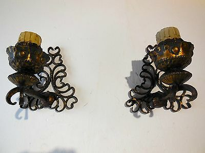 ~c 1900 French Chateau Set of 8 Wrought Iron Sconces Vintage Original & Old~