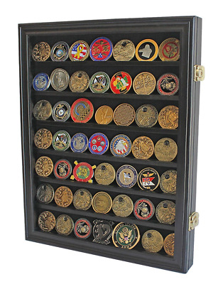 Lockable Military Challenge Coin Casino Chip Display Case Cabinet Rack Shadow Bo