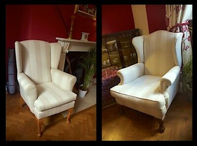 Antique Pair of Edwardian Armchairs, Beige, fabric (stripes)
