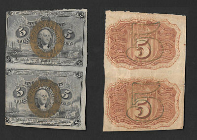 >>Awesome<< Mid Grade 2-Up Uncut 5/cent 2Nd Issue >Fractional Notes<