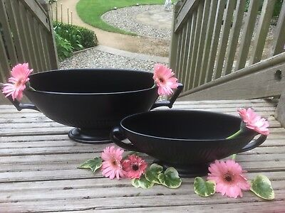 1967 Vintage Pair Of Large Wedgwood Black Basalt Pedestal Vases