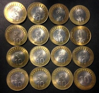 Old India Coin Lot - 16 BI-METAL 10 RUPEES - Great High Grade Coins - Lot #520