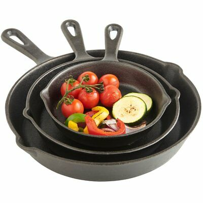 3pc Traditional Pre-seasoned Cast Iron Skillet Set - Pan Fry Cookware Oven Pots