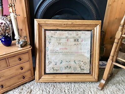 Fabulous Antique Vintage Victorian Sampler in Pine Frame