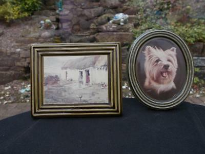 2 Irish Gray Fine Arts Wade Picture Plaques Thatched Cottage & Terrier Dog
