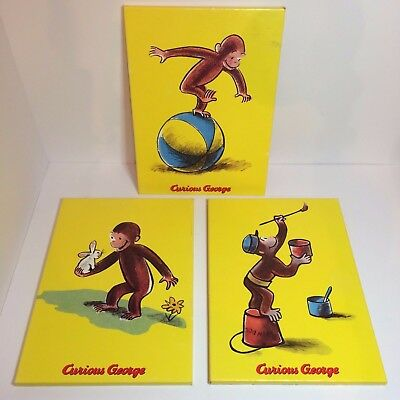 "3 Curious George Canvas Color Prints On Wood Board - 14"" x 10 1/8"" x 1/2"""