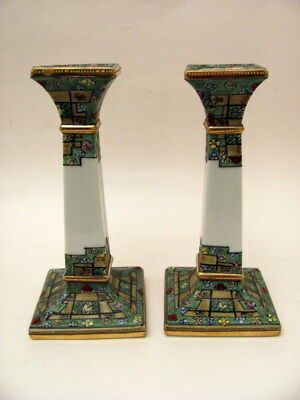 Antique Hand Painted Pair (2) Nippon Candle Stick Holders #47 Mark Early 1900s