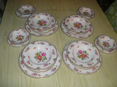 1948-52 Noritake Dishes Occupied Japan 20Pc Serving Set Plates Bowls Pink Rose
